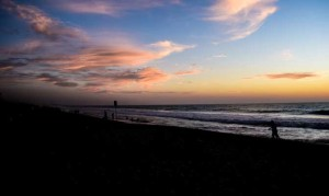 silver sand and sunset over south beach in Perth