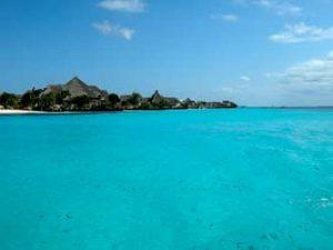 Island Zanzibar blue water